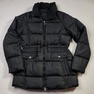 Land's End Long Black Puffer Jacket Womens Small